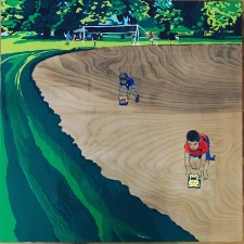 """Truck Race"" 24""x24"" Enamel on Wood"